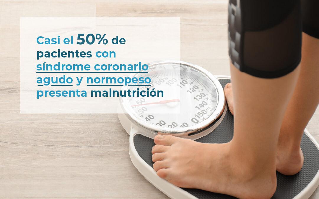 Casi el 50% de pacientes con síndrome coronario agudo y normopeso presenta malnutrición